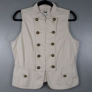 Live a Little cream vest with aged gold buttons M